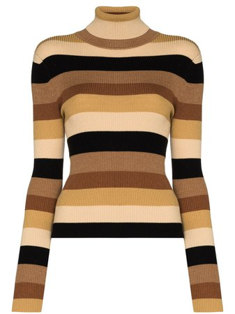 STAUD Striped Turtleneck Jumper - Farfetch