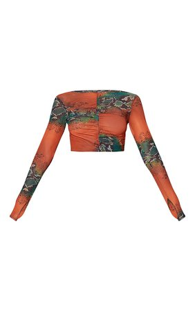 Orange Mesh Snake Ruched Long Sleeve Crop Top | PrettyLittleThing USA