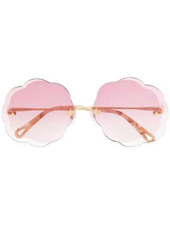 Chloé Eyewear Scalloped Sunglasses CE156S Pink | Farfetch