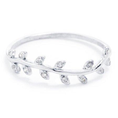 Marisol & Poppy - Marisol & Poppy Fine Sterling Silver Cubic Zirconia Leaf Band Ring Size 8 - Walmart.com - Walmart.com