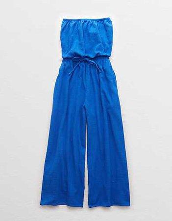 Aerie Strapless Jumpsuit blue