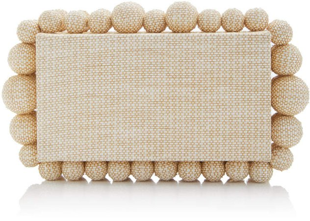 Eos Embellished Raffia Box Clutch