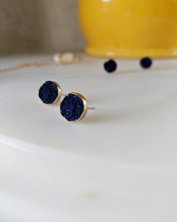Raw Stone Earrings Druzy Gold Earrings Minimalist Earrings | Etsy