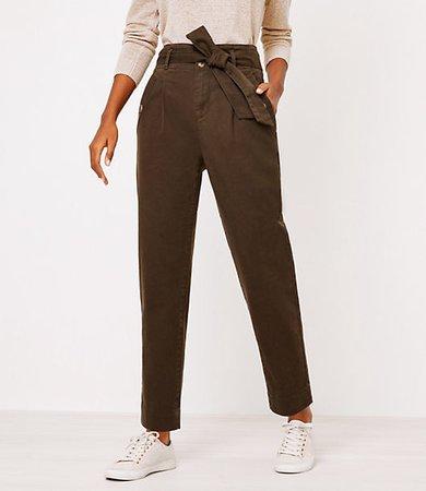 Petite Tie Waist Slim Ankle Pants