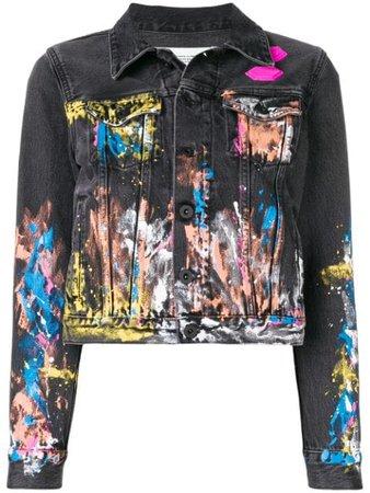 Off-White Splash Paint Denim Jacket - Farfetch