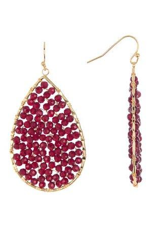 Panacea | Burgundy Crystal Beaded Teardrop Earrings | Nordstrom Rack