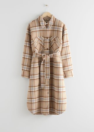 Belted Oversized Coat - Beige Checks - Woolcoats - & Other Stories