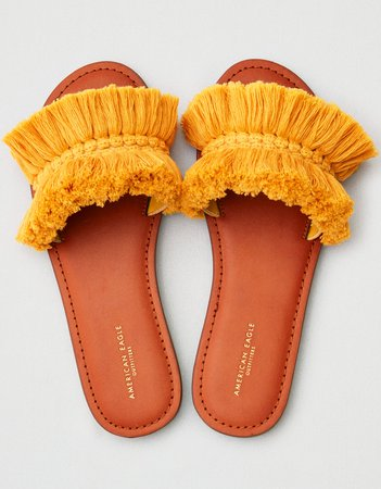 AEO Fringe Sandal, Mustard | American Eagle Outfitters