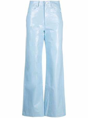 ROTATE straight-leg cropped trousers - FARFETCH