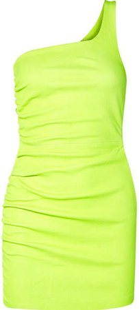 One-shoulder Ruched Neon Leather Mini Dress - Yellow