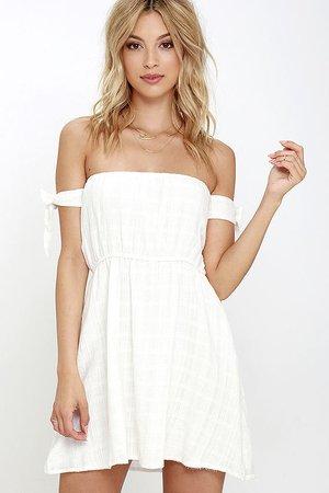 Ivory Dress - Off-the-Shoulder Dress - White Dress - $52.00