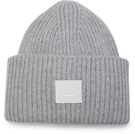Pansy Face Patch Rib Wool Beanie