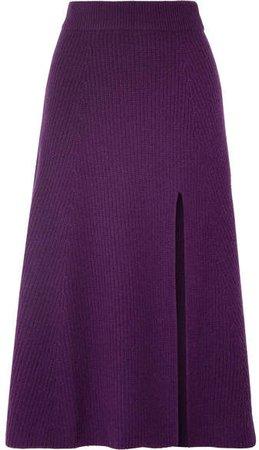 Calvin Ribbed Cashmere Midi Skirt - Dark purple