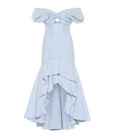 Checked stretch cotton midi dress