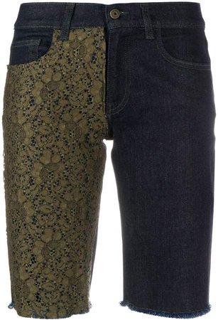 lace-embellished denim shorts