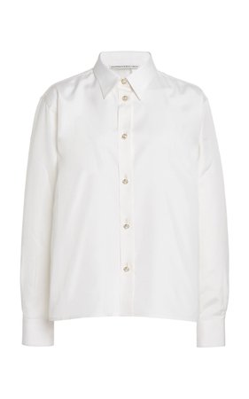Alessandra Rich Silk Blouse With Crystal Buttons