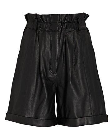 FRAME Leather Paperbag Shorts | INTERMIX®