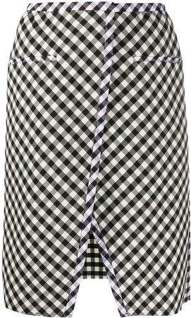 Plaid Front-Slit Skirt