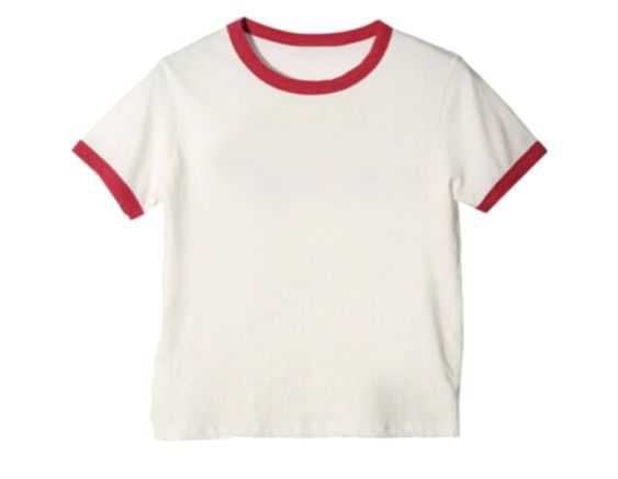 white tee shirt with red hems
