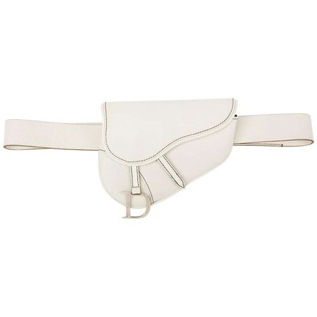 2002 Christian Dior White Calfskin Leather Saddle Belt Bag