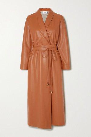 Camel Emery vegan leather wrap dress | Nanushka | NET-A-PORTER