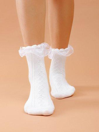Mesh Trim Crew Socks | SHEIN USA