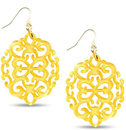 ZENZII Modern Damask Pattern Resin Earring (Yellow)