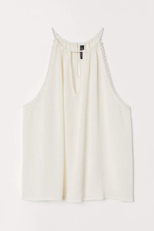 Sleeveless Crinkled Top - White