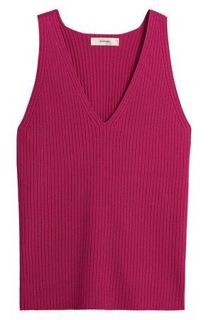 SUISTUDIO Dana Ribbed Knit Tank | pink