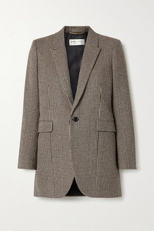 Gray Checked wool-blend blazer | SAINT LAURENT | NET-A-PORTER