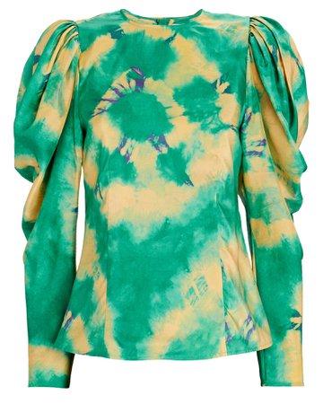 Ulla Johnson Ora Tie-Dyed Silk Blouse | INTERMIX®
