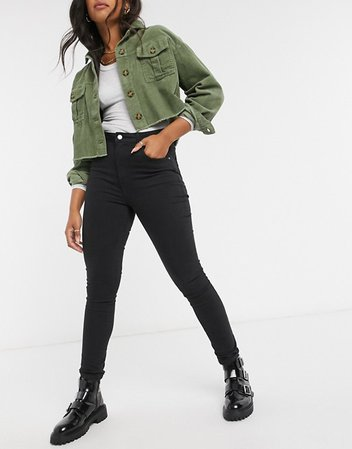 Cotton On high-rise skinny jeans in black | ASOS