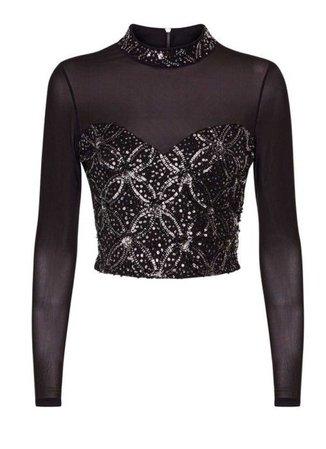 Black Sheer Sequin Crop Top