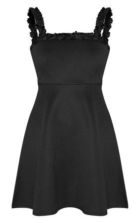 Pretty Little Thing Black Floral Strap Skater Dress