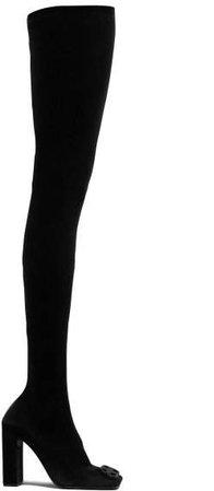Double Square Bb Logo Over The Knee Velvet Boots - Womens - Black