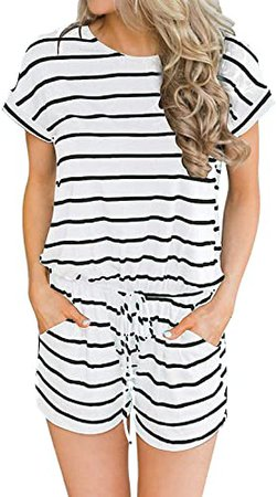 Amazon.com: Hount Women's Summer Short Sleeve Romper Casual Loose Stirped Short Rompers Jumpsuits with Pockets: Clothing