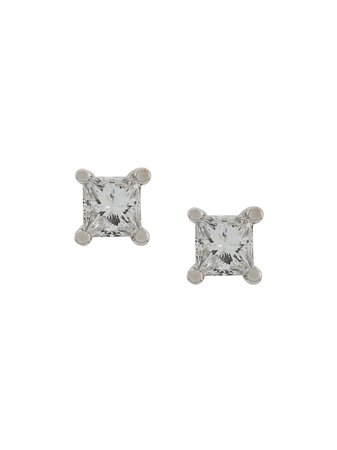 Delfina Delettrez 18Kt White Gold Dots Solitare Princess Diamond Stud Earrings Continuity | Farfetch.com