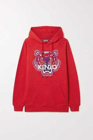 Embroidered Cotton-jersey Hoodie