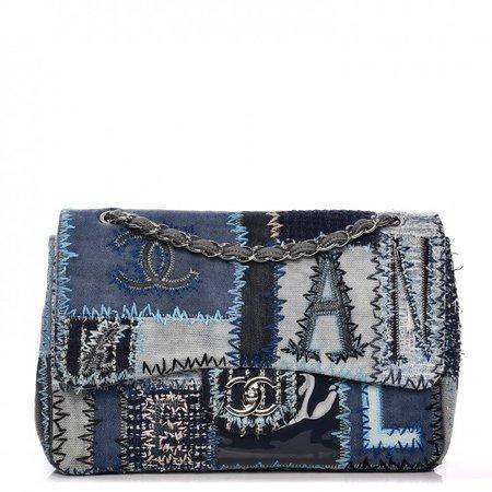 chanel denim patchwork purse