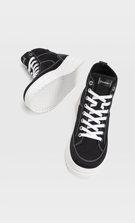 Fabric high-top trainers - Women's Just in | Stradivarius United States