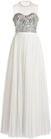 Jenny Packham Embellished Crepe Dress