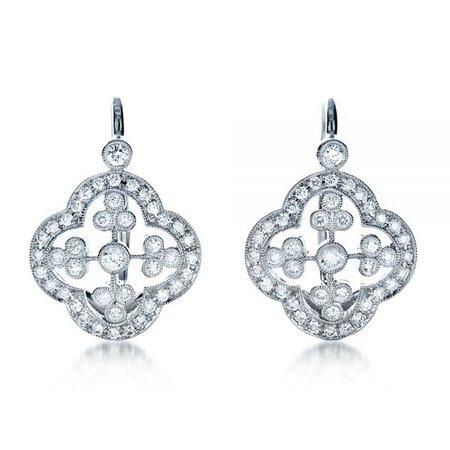 Diamond Filigree Earrings #1183 - Seattle Bellevue | Joseph Jewelry