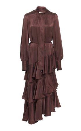 Asymmetric Silk-Satin Maxi Dress by Zimmermann   Moda Operandi