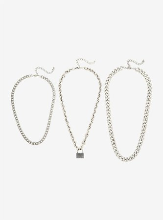 Padlock Chain Necklace Set