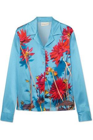 Dries Van Noten | Copine floral-print silk-satin shirt | NET-A-PORTER.COM