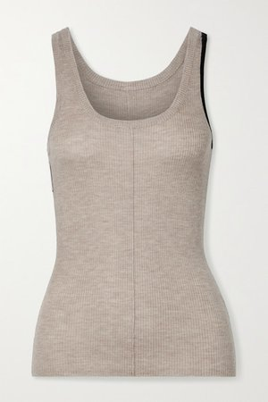 Vin Two-tone Ribbed Cashmere-blend Tank - Beige