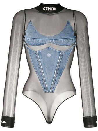Heron Preston Denim Panel Mesh Bodysuit - Farfetch