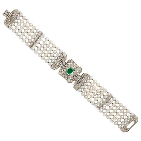Emerald, Diamond and Pearl Platinum Bracelet
