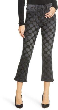 High Waist Slim Fit Crop Kick Jeans