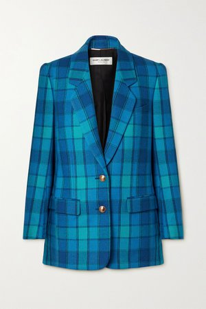Bright blue Checked wool-twill blazer | SAINT LAURENT | NET-A-PORTER